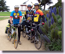 Teymoor Gedayloo, Debbie Bennett, and husband Brian Bennett prepare to bike from San Francisco to New York City to raise donations for Leukemia Research